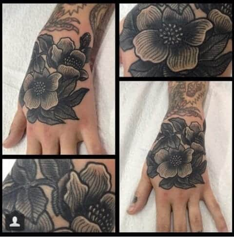 Black and Grey Flower Tattoo For Girl