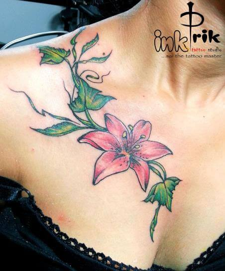 Flower Tattoo Design For Girl On Front Shoulder
