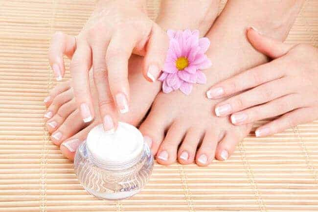 apply a Foot moisturiser and massage the feet with gentle strokes