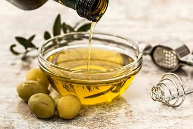 Olive oil, baking soda and Lemon juice.
