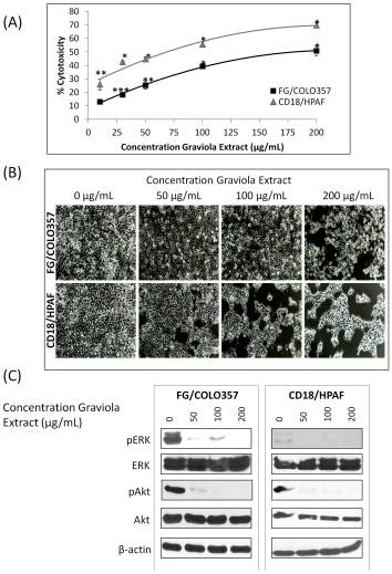Effect of Graviola extract on pancreatic cancer cells